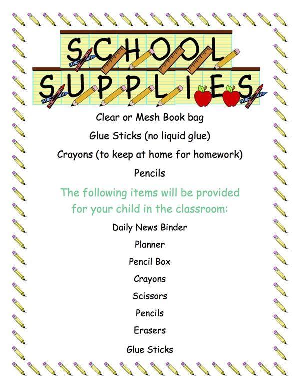 Burns, Tina / Classroom Supply List